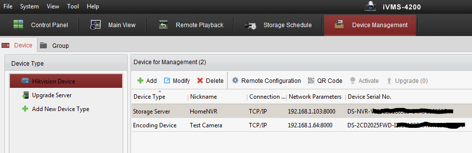 Remote Playback of recordings on iVMS4200 Storage Server