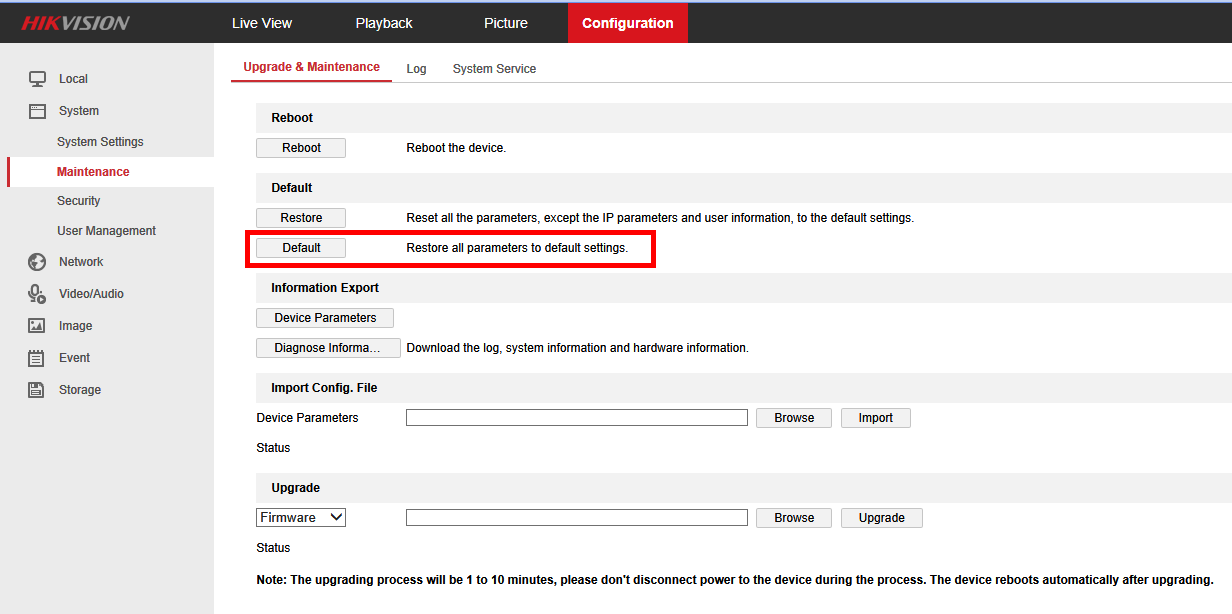 How to reset a Hikvision camera to factory default settings