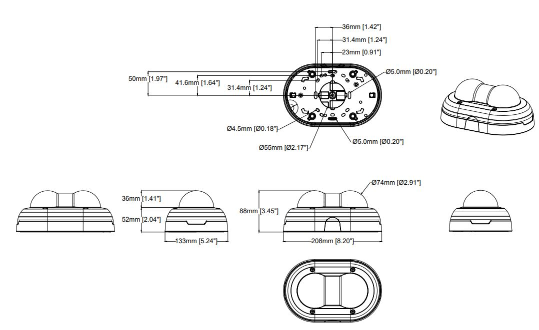 Axis P3715-PLVE Dimensions
