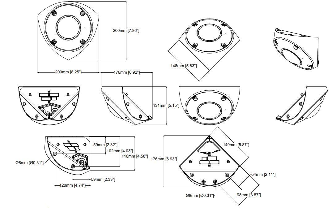Q9216-SLV Camera Dimensions