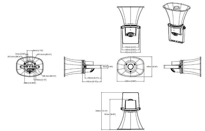 Axis C1310-E Horn Speaker Dimensions