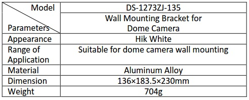 Hikvision DS-1273ZJ-135 Wall Mount Bracket