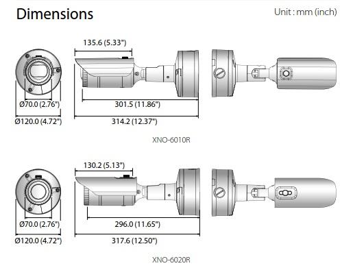 XNO-6010R-6020R Dimensions
