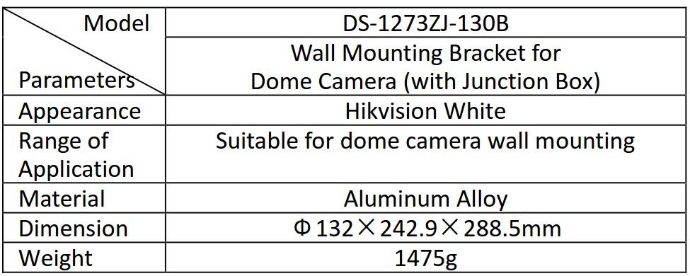 DS-1273ZJ-130B Table