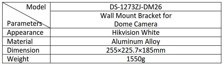DS-1273ZJ-DM26 table