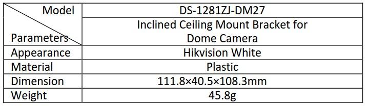 DS-1281ZJ-DM27 table