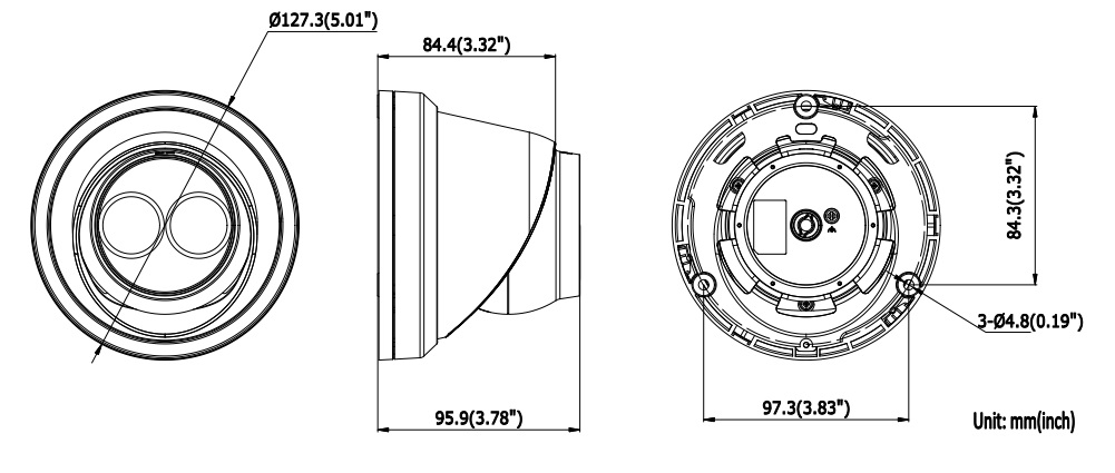 Dimensions for DS-2CD23X5FWD-I Hikvision Easy IP 3.0 Turret