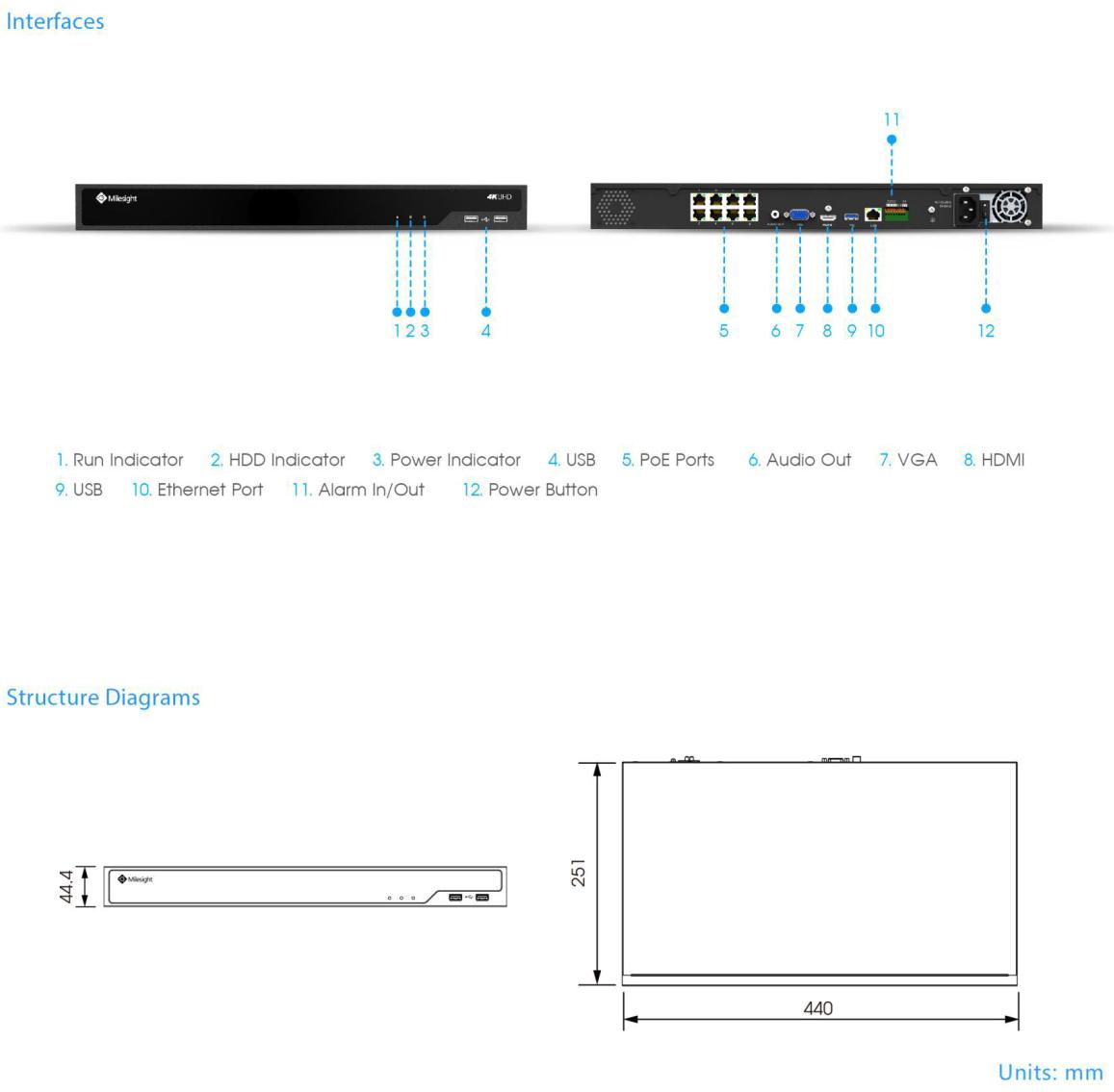 Milesight MS-N5016-UPT NVR Dimensions