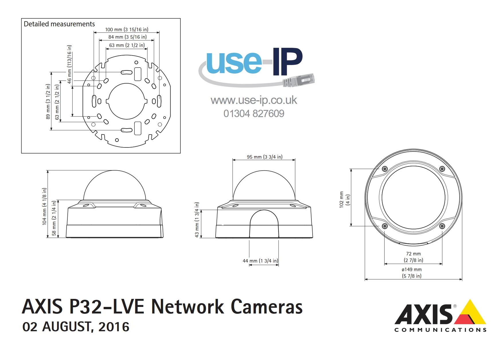 Axis P3224-LVE Mk II Dimensions