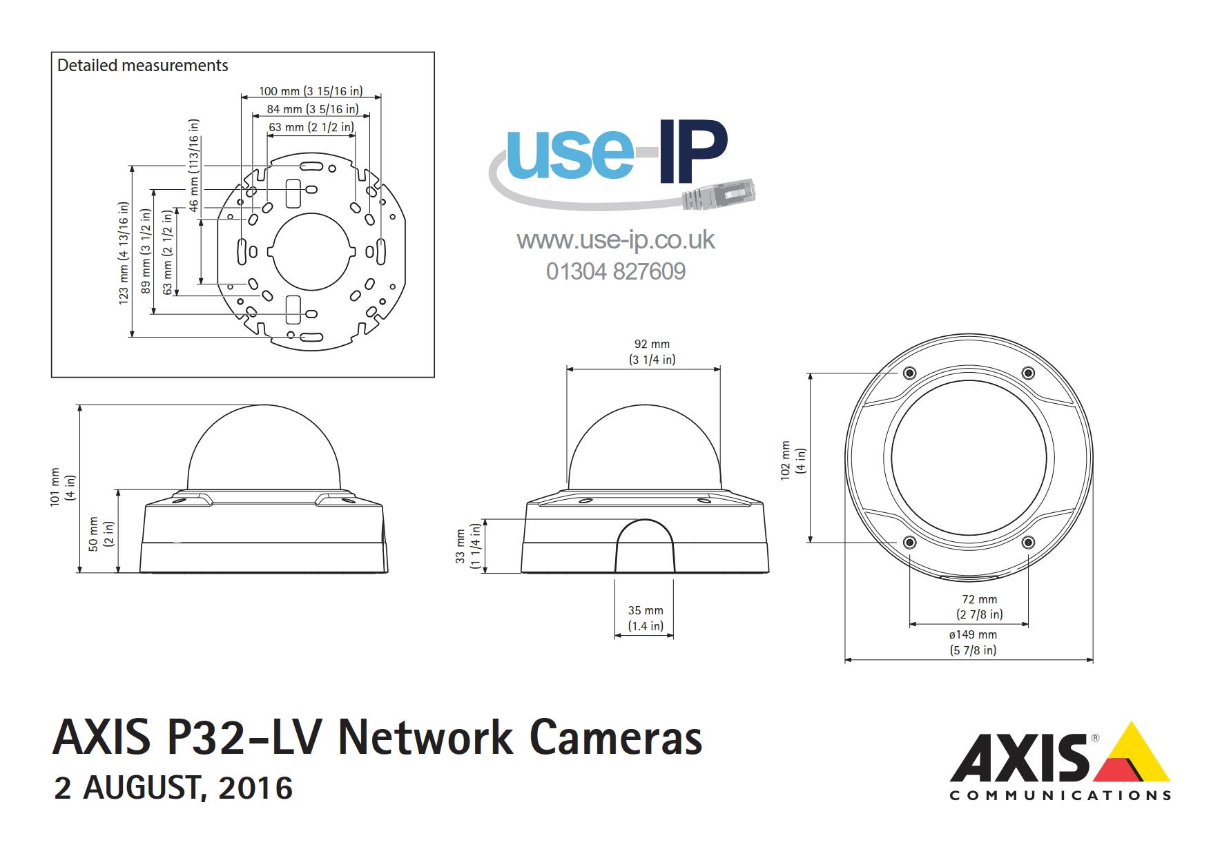 Axis P3224-LV Mk II Dimensions