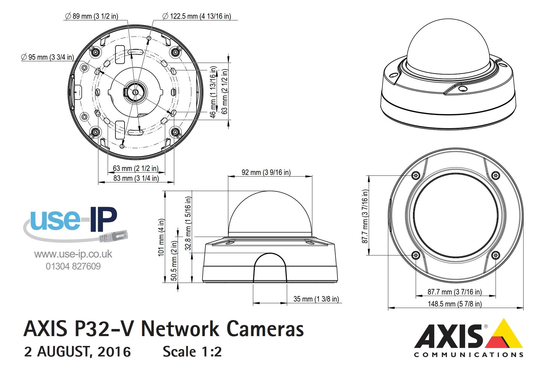 Axis P3224-V Mk II Dimensions