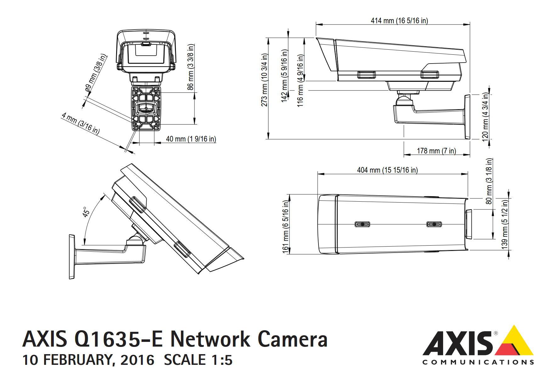 Axis Q1635-E Dimensions