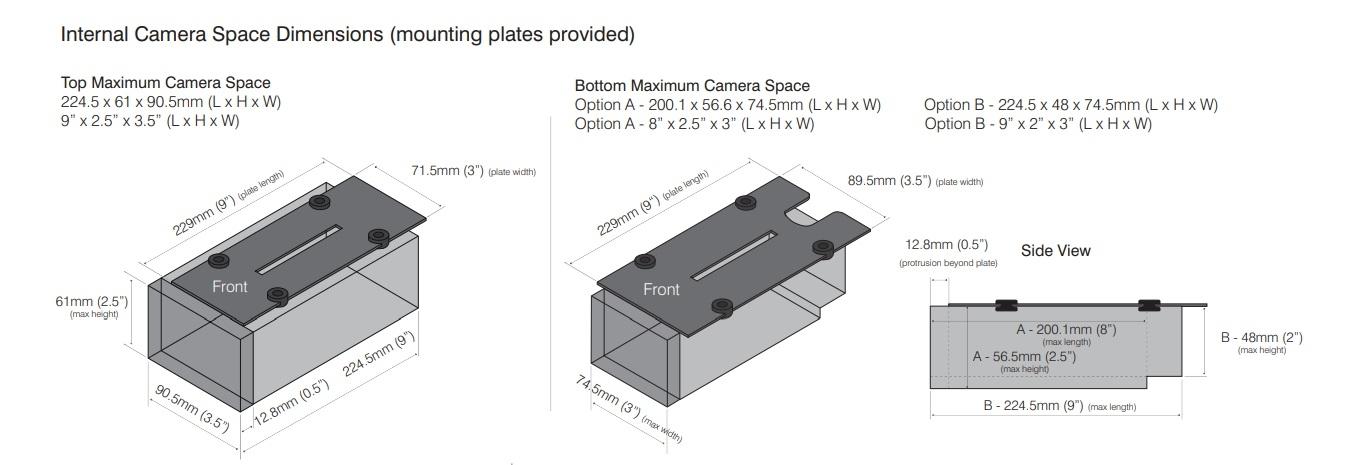 VAR2-VLK-i4-2 camera housing dimensions