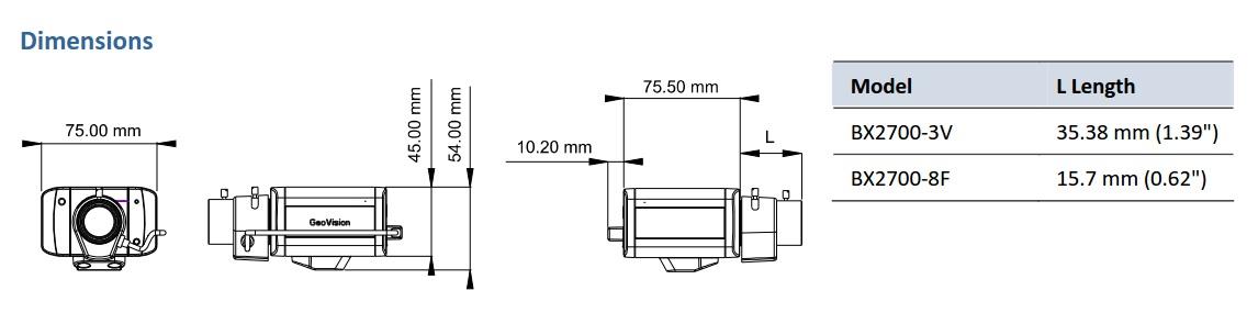 Geovision GV-BX2700 Dimensions