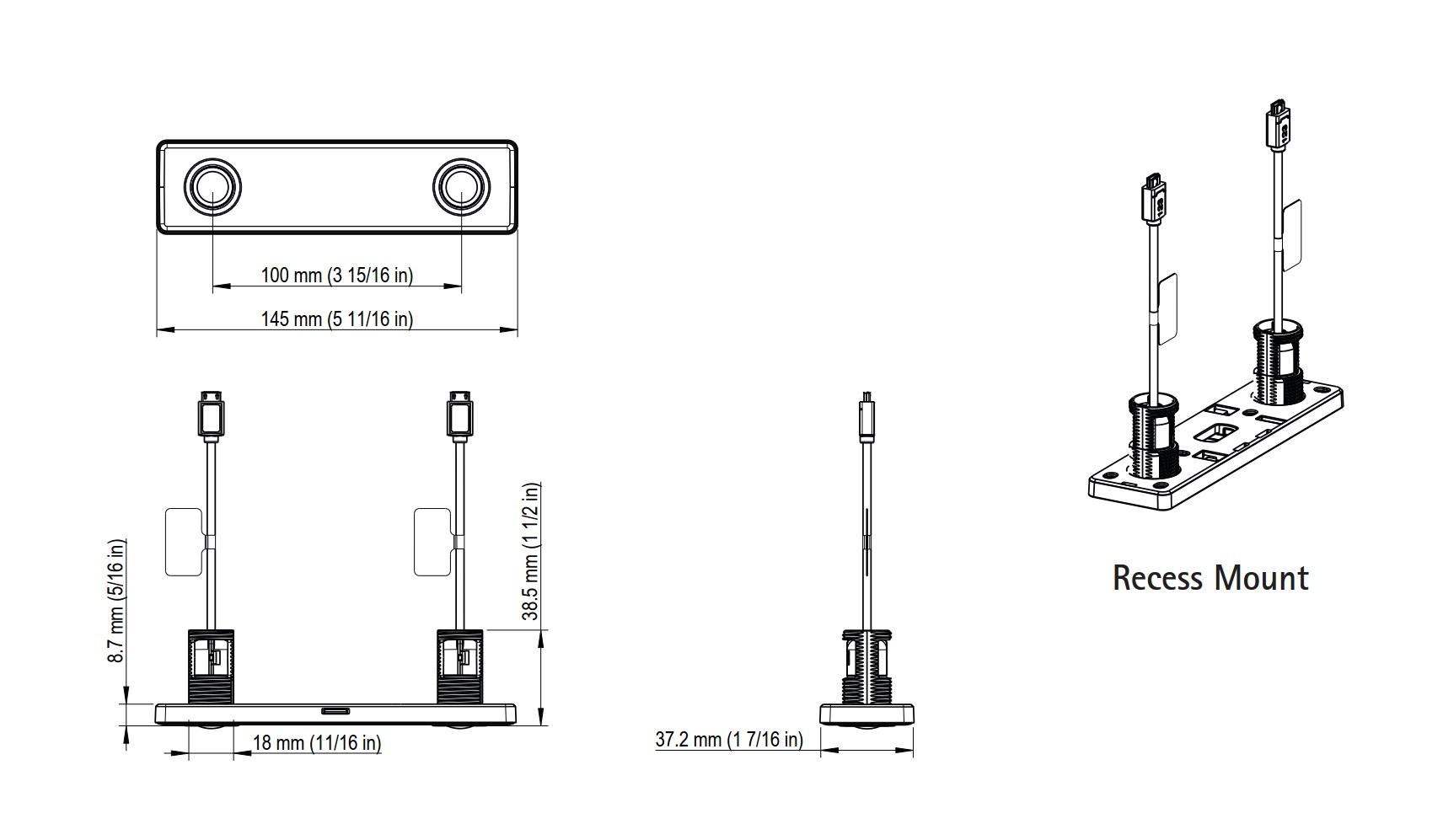 F8804 Recess Mount Dimensions