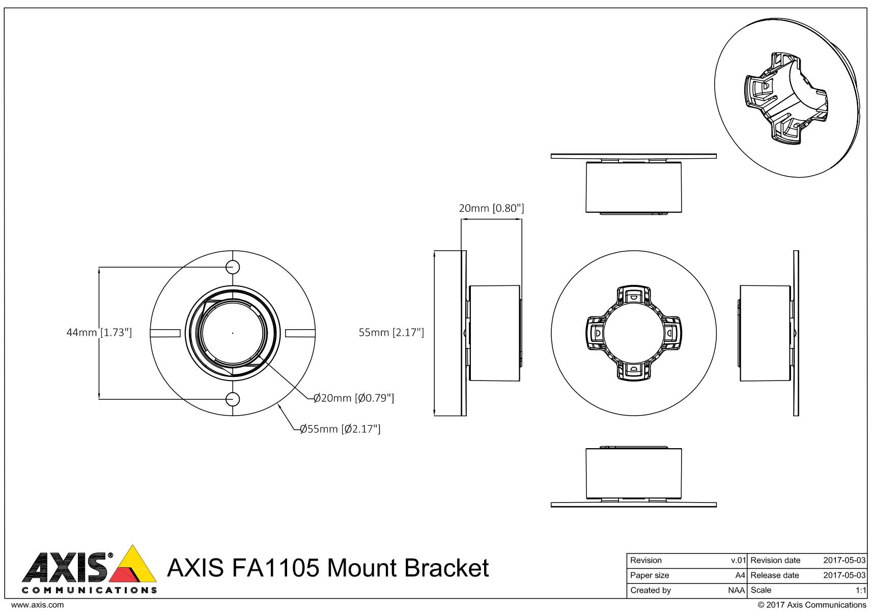 FA1105 Bracket Dimensions
