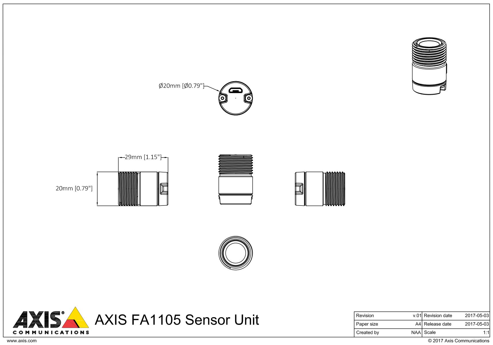 FA1105 Unit Dimensions