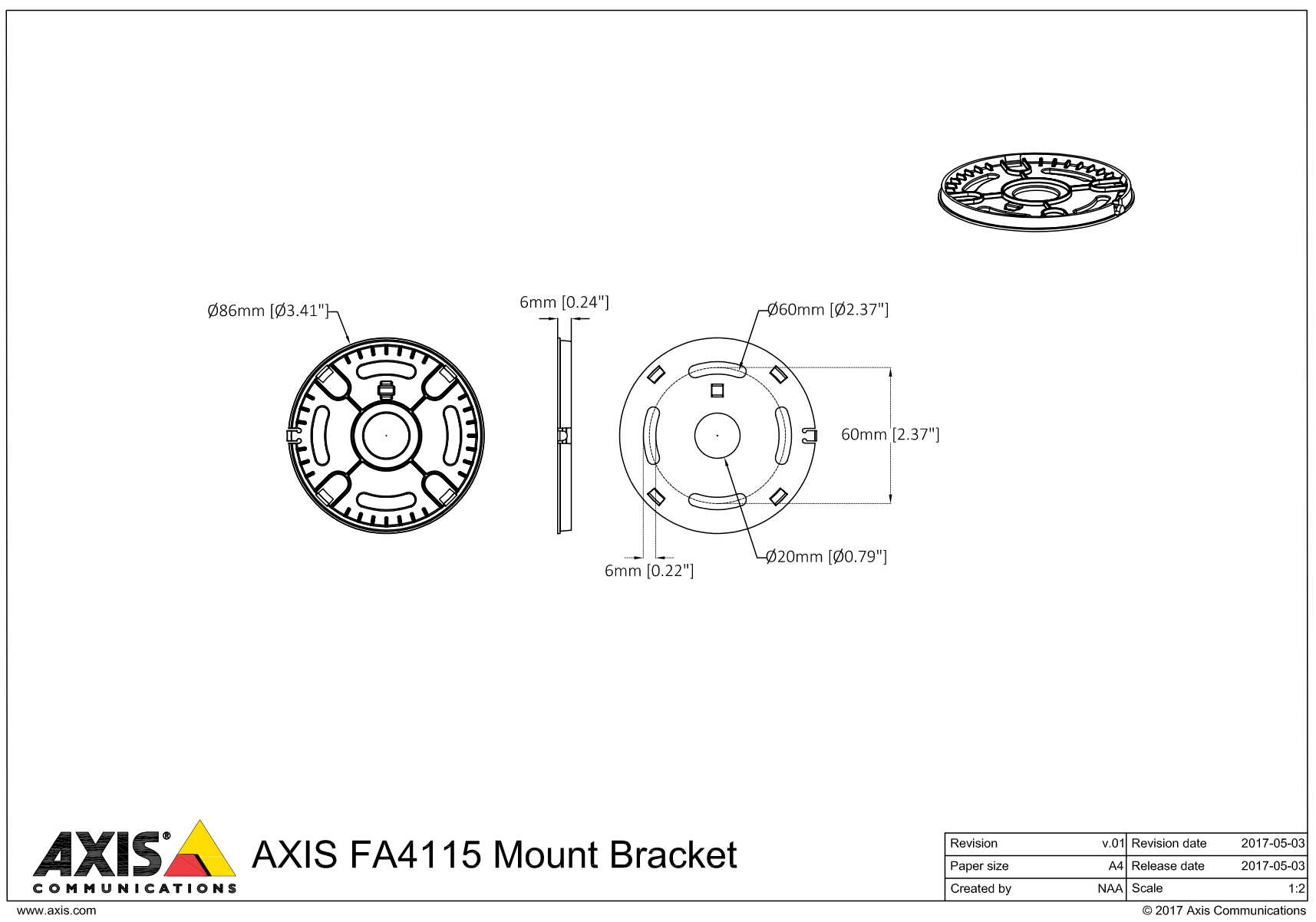 AXIS FA4115 Bracket Dimensions