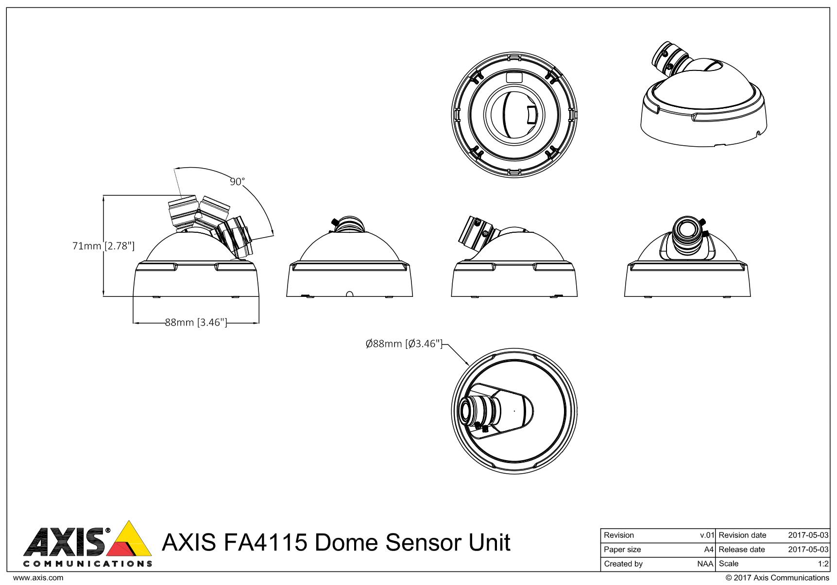 AXIS FA4115 Unit Dimensions