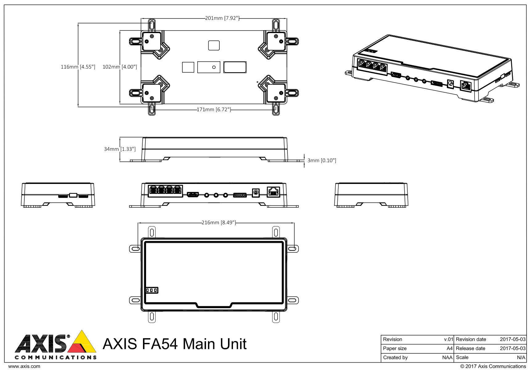 Axis FA54 Dimensions