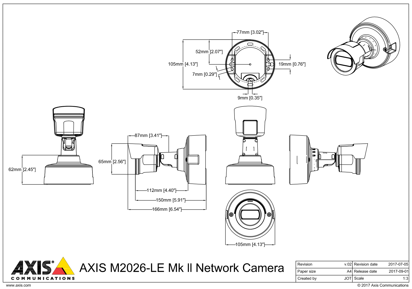 Axis M2026-LE Dimensions