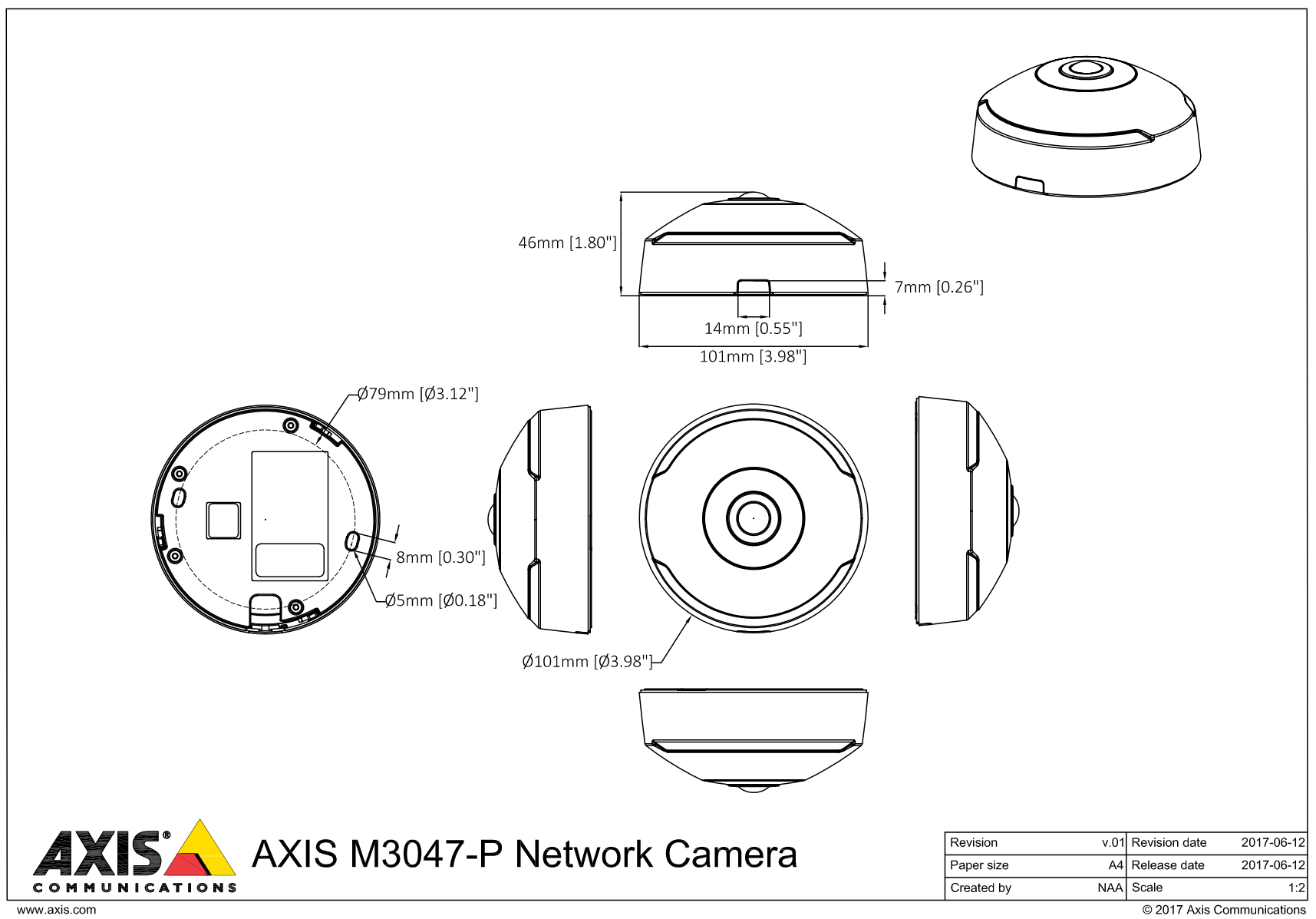 Axis M3047-P Dimensions