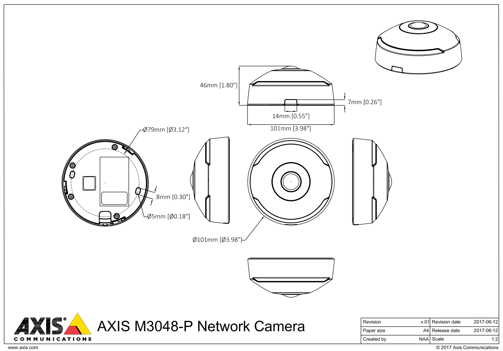 Axis M3048-P Dimensions