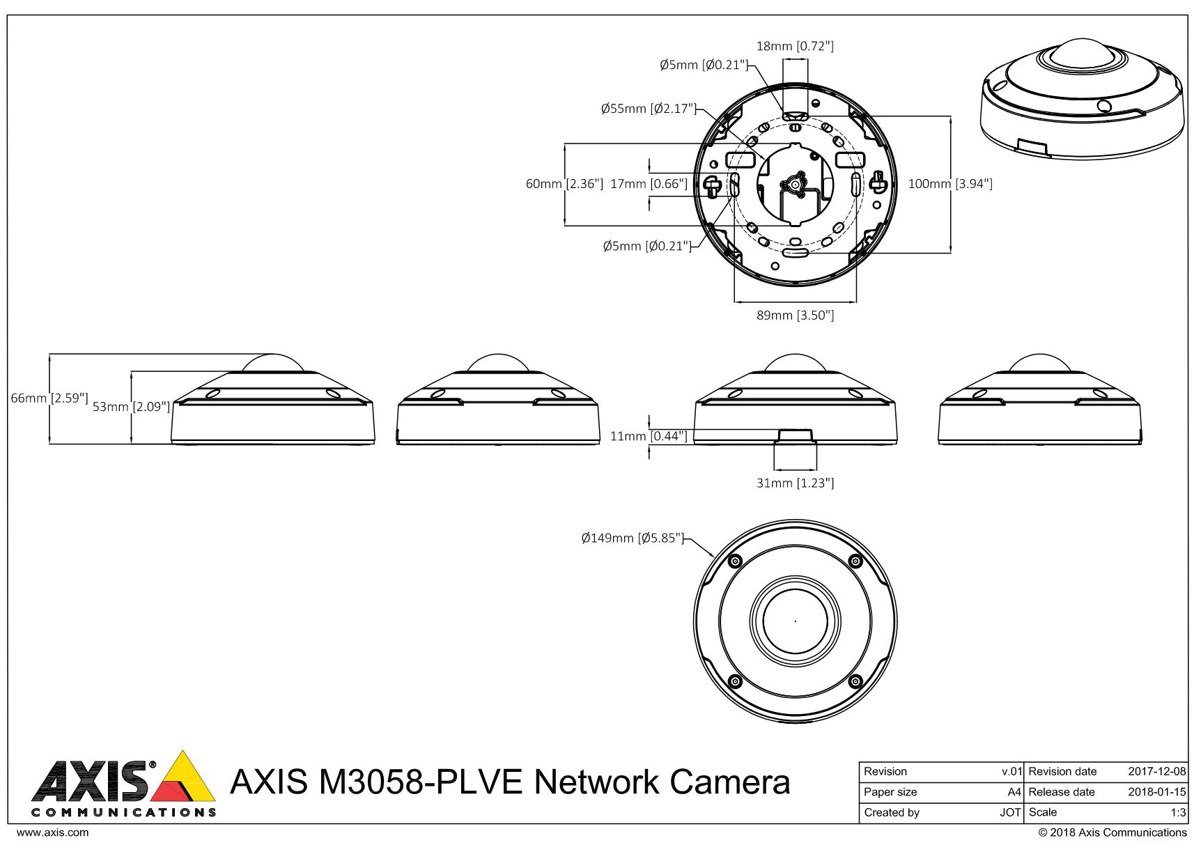 M3058-PLVE Dimensions