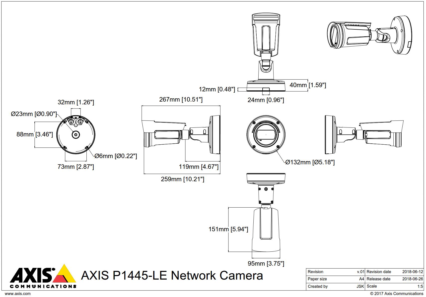 P1445-LE Dimensions