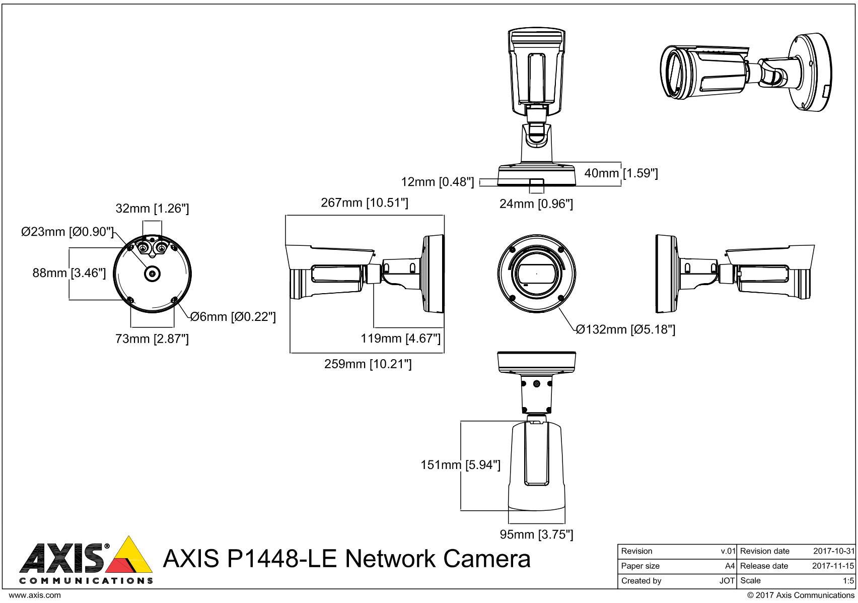 P1448-LE Dimensions