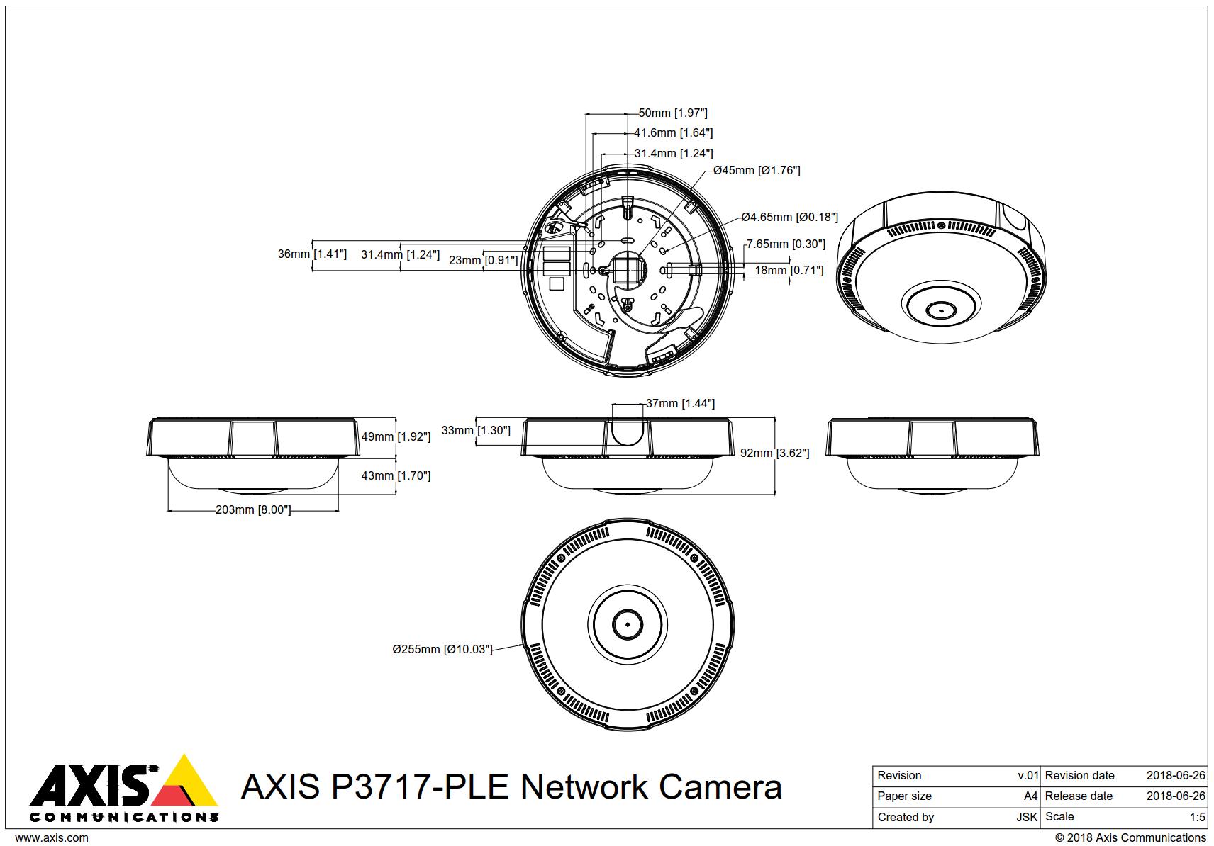 P3717-PLE Dimensions