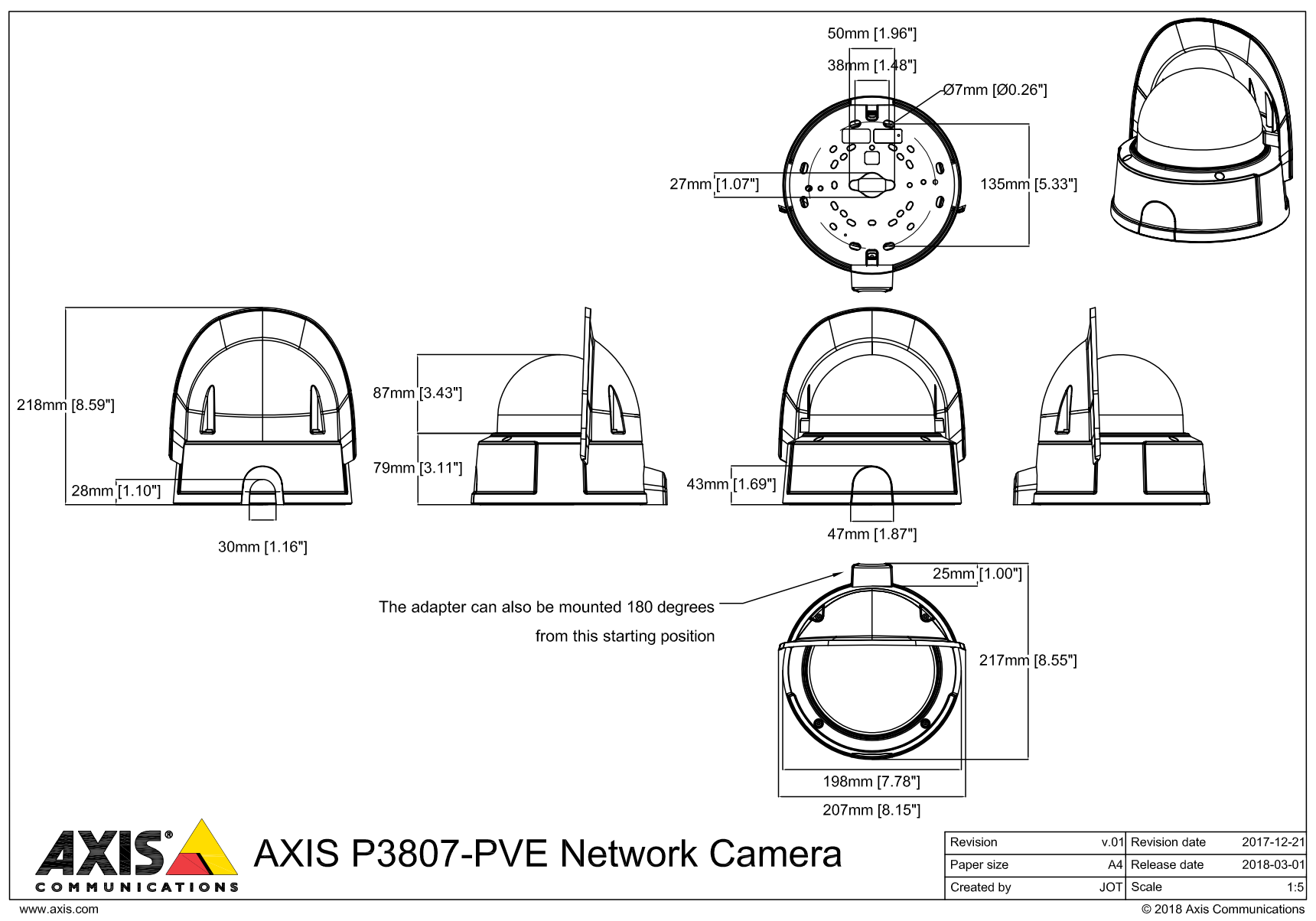 Axis P3807-PVE Dimensions