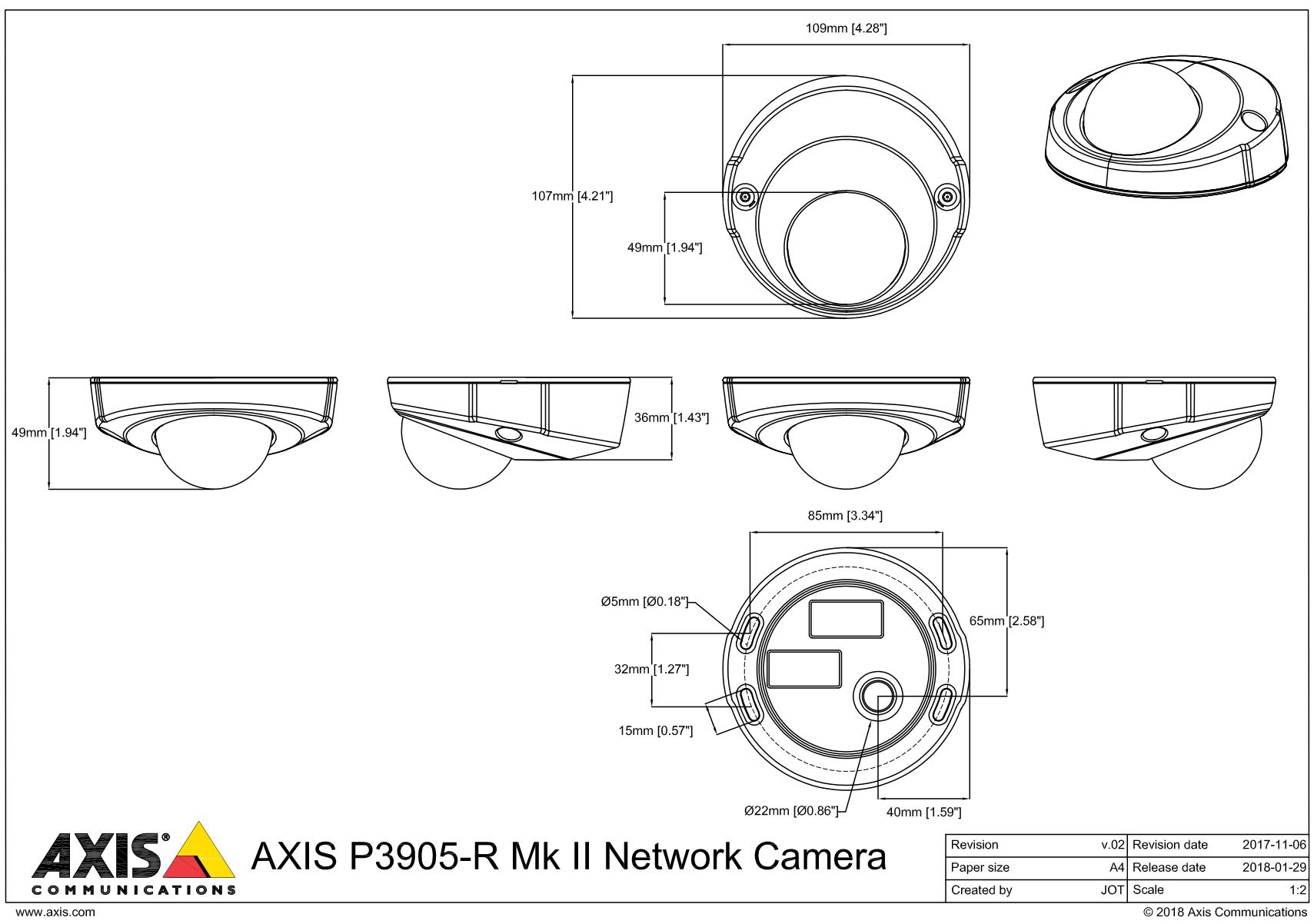 P3905-R Mk II Dimensions