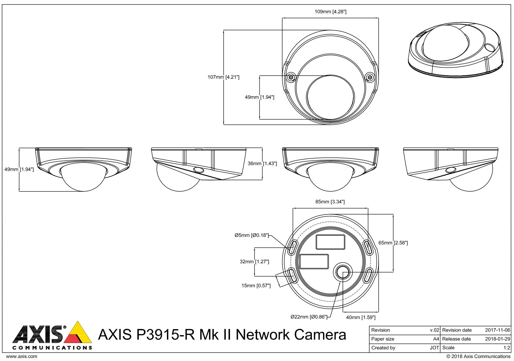 P3915-R Mk II Dimensions