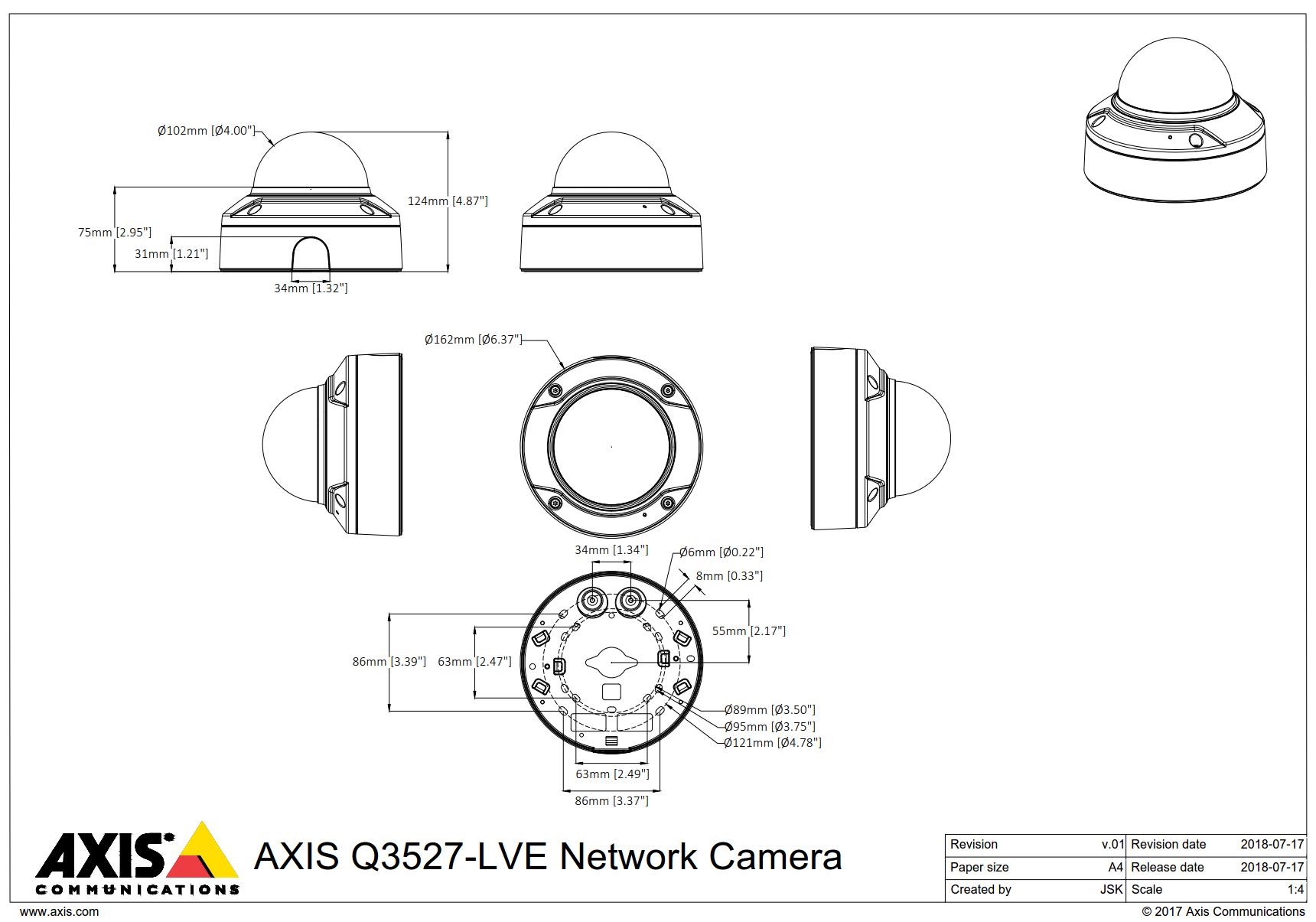Q3527-LVE Dimensions