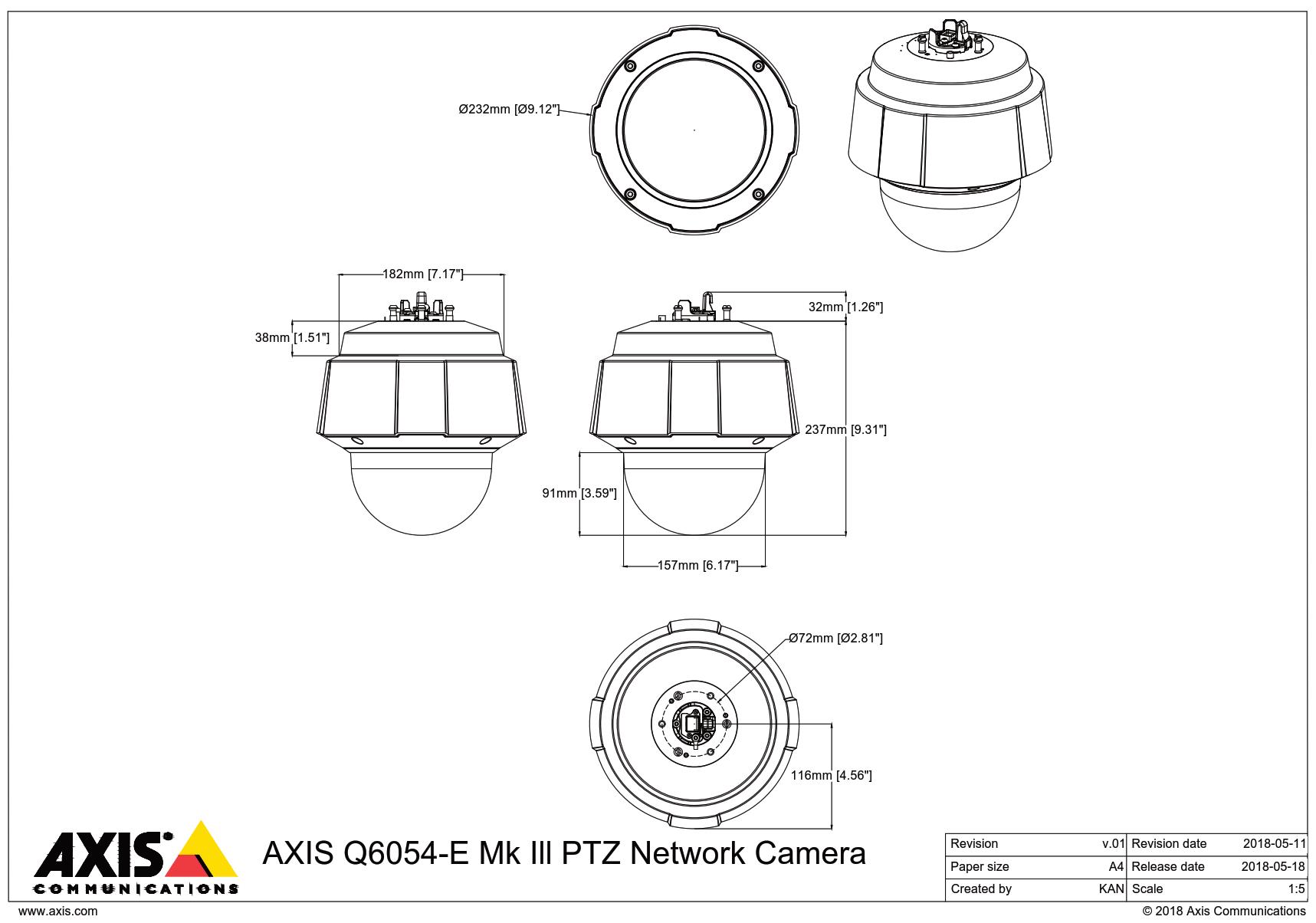 Q6054-E Mk III Dimensions