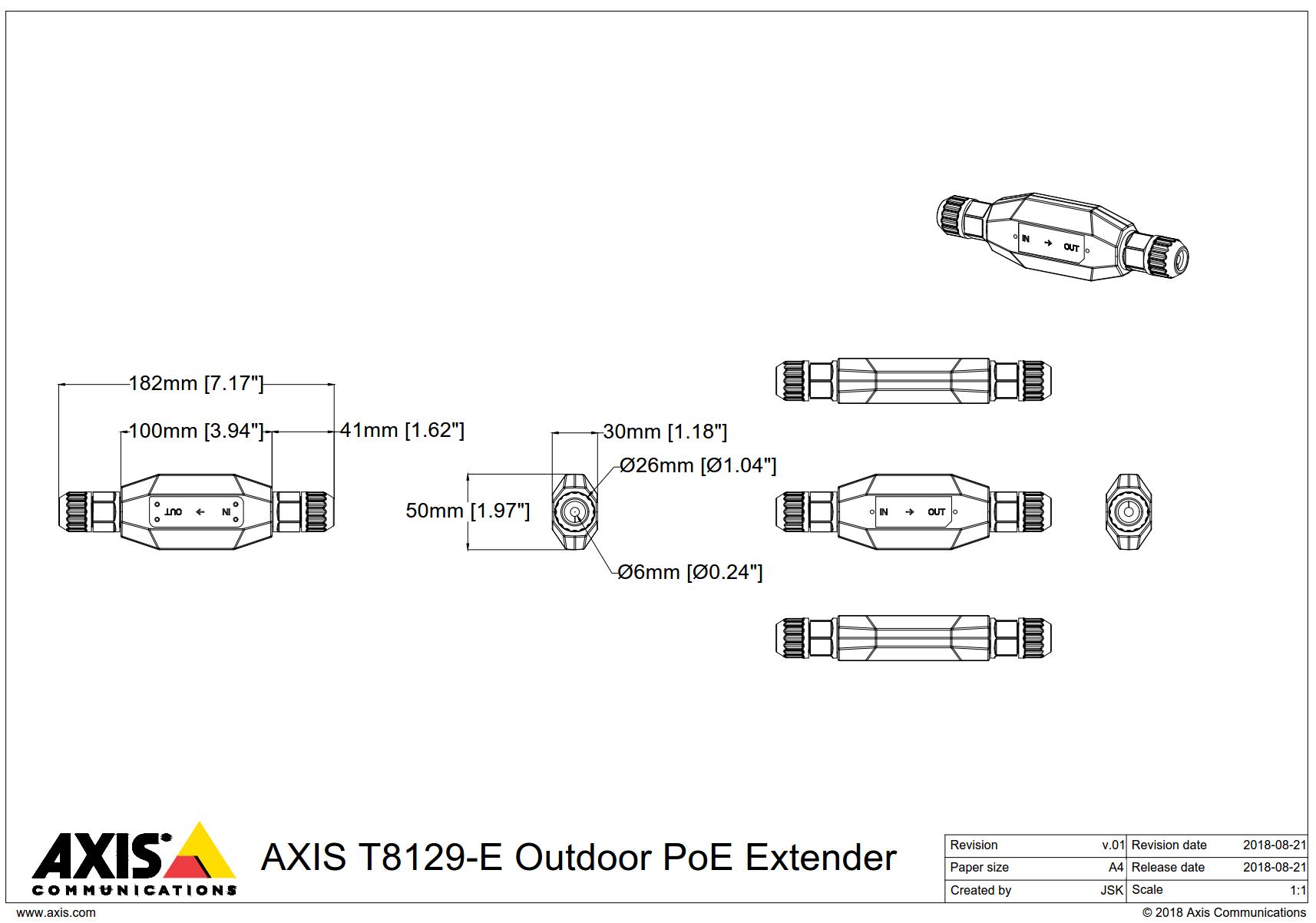 T8129-E Dimensions