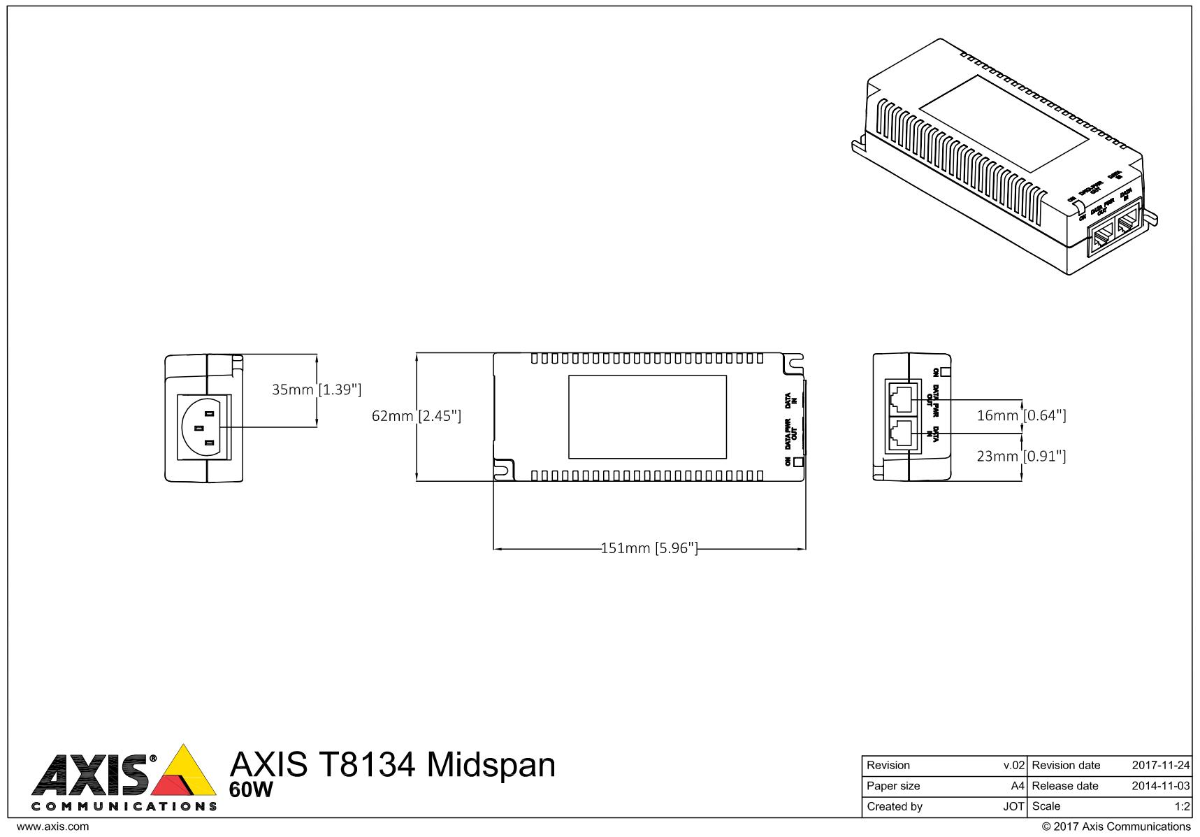 T8134 Dimensions