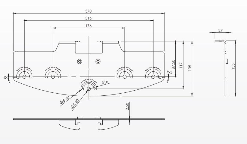 rayTEC vub-plate-3x8 dimensions