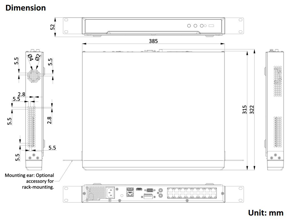 DS-7608NI-K2-8P-4G Dimensions
