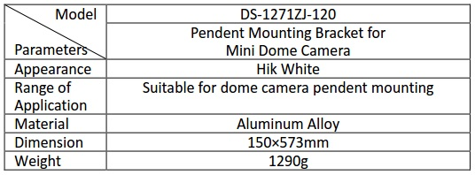 Hikvision DS-1271ZJ-120 Pendant Mount Bracket