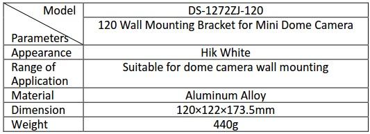 Hikvision DS-1272ZJ-120/B Wall Mount Bracket