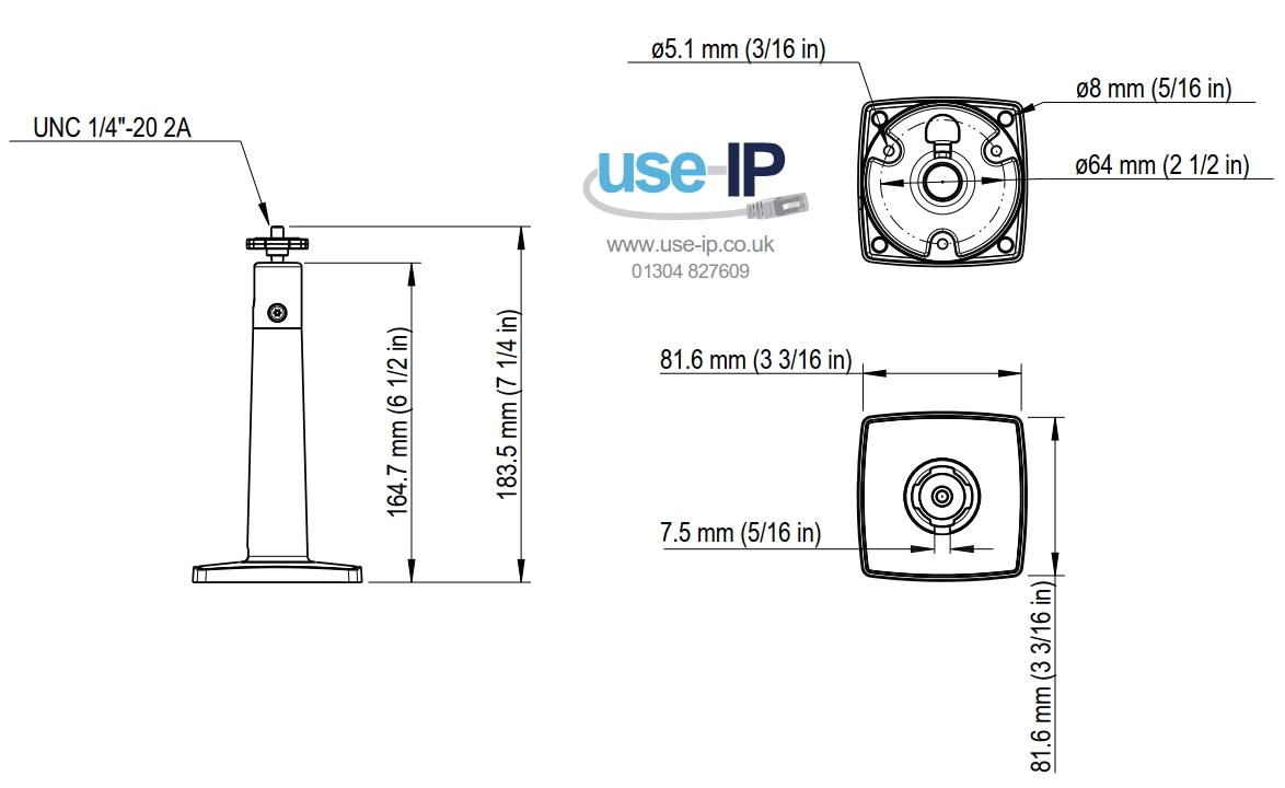 Axis T91B21 Dimensions