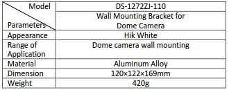 Hikvision DS-1272ZJ-110B Wall Mount Bracket with Back Box