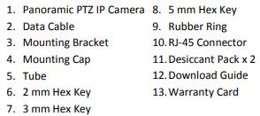 GV-PPTZ3700 packing list
